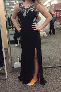 black Prom Dresses,long prom dress,beaded prom Dress,cheap prom dress,side slit prom dress,BD2973
