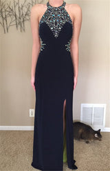 black evening Dress,long Prom Dress,beaded prom dress,side slit prom dress,backless evening dress,BD2969