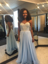 light blue Prom Dresses,long prom dress,sweetheart prom Dress,cheap prom dress,simple prom dress,,BD2978