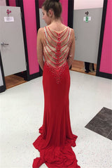red Prom Dress,v-neck prom dress,beaded prom dress,side slit prom dress,see through prom dress,BD3001