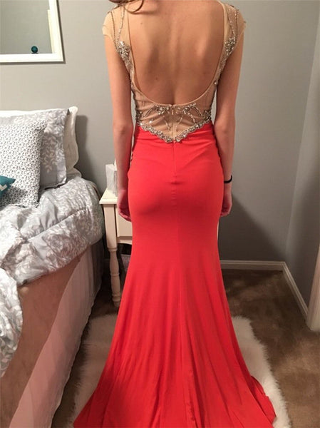 red Prom Dress,Long Prom Dress,charming Prom Dress,cap sleeves Prom Dress,side slit evening Dress, BD2989