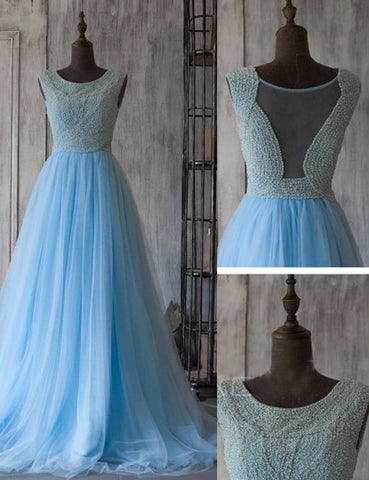 blue Prom Dresses,long prom dress,A-line prom Dress,charming prom dress,tulle prom gown,BD2977