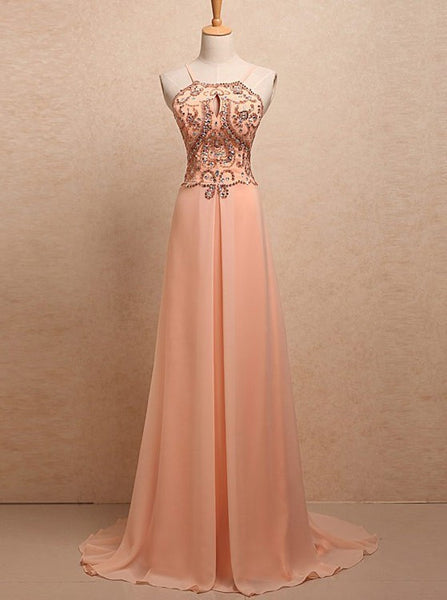 pink prom dress,long Prom Dress,chiffon prom dress,cheap evening dress,beaded prom dress,BD2717