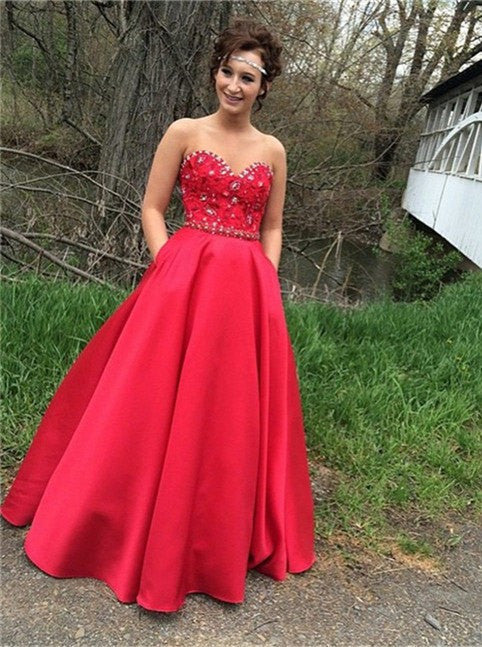 red Prom Dresses,long prom dress,A-line prom Dress,satin prom dress,charming prom gown,BD2979