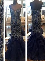 navy blue Prom Dress,Long Prom Dress,mermaid Prom Dress,beaded Prom Dress,gorgeous evening Dress, BD2990