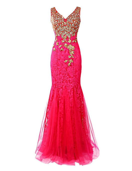 hot pink Prom Dresses,long prom dress,mermaid prom Dress,lace prom dress,charming evening dress,BD2984