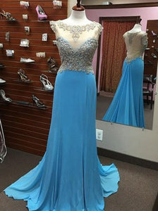blue Prom Dresses,long prom dress,see through back prom Dress,beaded prom dress,charming prom gown,BD2981
