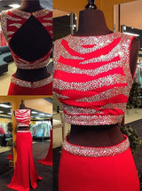 two pieces Prom Dress,red prom dress,beaded prom dress,side slit prom dress,open back prom dress,BD3000
