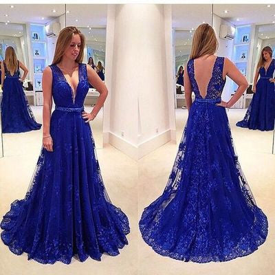 lace Prom Dresses,royal blue prom dress,charming prom Dress,v-neck prom dress,prom gown 2017,BD2800