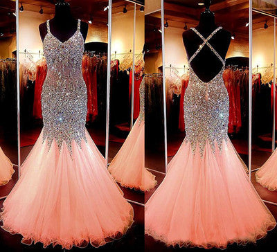 Charming Prom Dress, Rhinestone Prom Dress, Backless Prom Dress, 2016 Prom Dress, Evening Dress,BD111