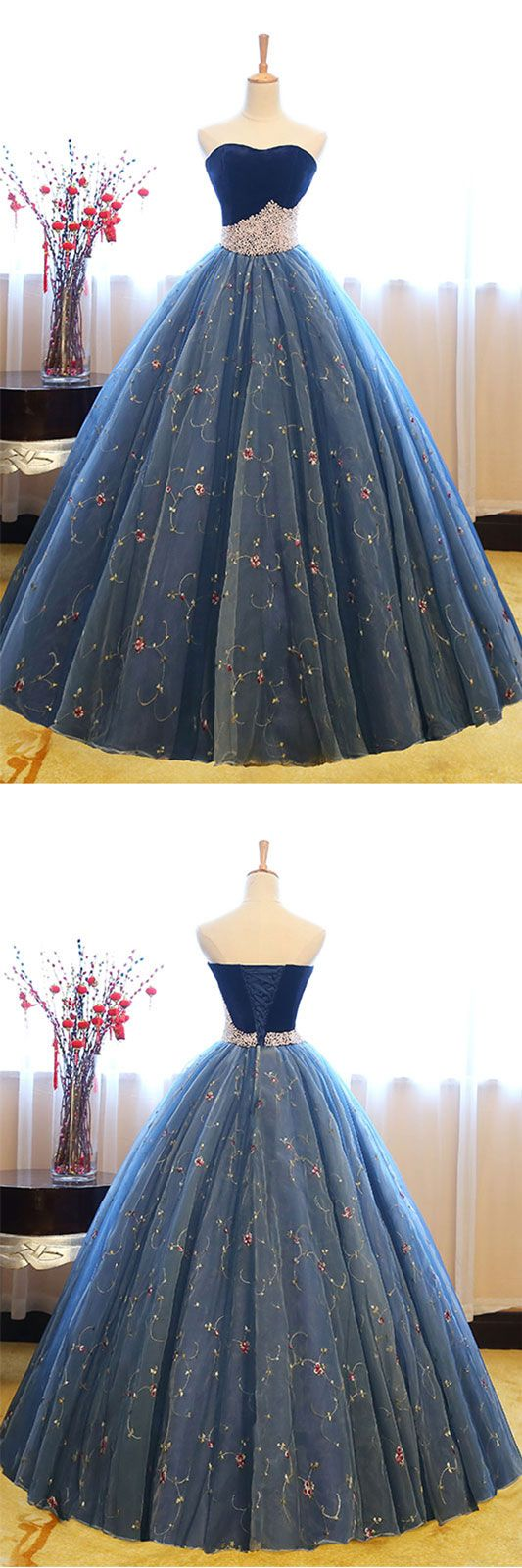 Blue sweetheart neck tulle long prom gown, blue sweet 16 dresses,PD455870