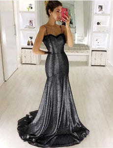 Mermaid Spaghetti Straps Sequined Prom Dress Long Evening Gown, BH91242