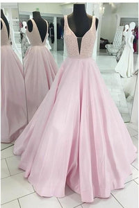 light pink beaded top A-line long prom dress, HO234