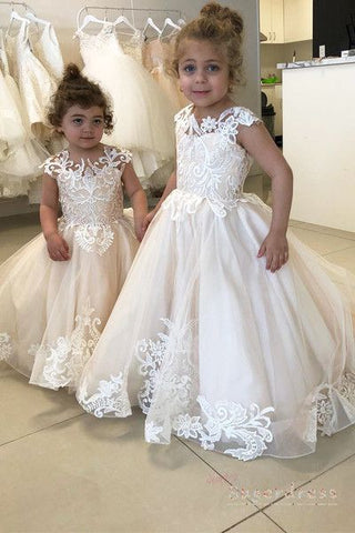 Cute Flower Girl Dresses, Cheap Long Little Girl Dresses, Girl's Birthday Party Dresses, FD010