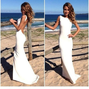 white prom dress,backless Prom Dress,simple prom dress,elegant prom dress,evening dress,BD1364