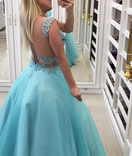 Blue Sweetheart Two Pieces Long Prom Dresses, Blue Prom Dresses,PD4558942
