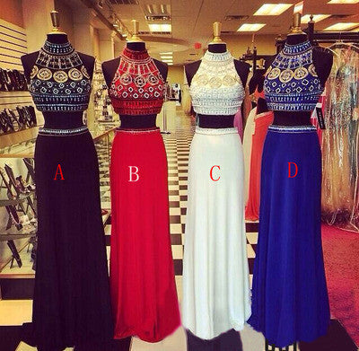 Two pieces prom Dress,Beading Prom Dresses,High neck prom dress,Evening dress,BD039