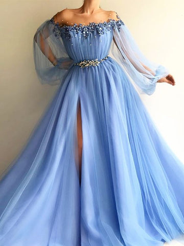 off shoulder blue tulle with long sleeves side slit long prom dress, HO240
