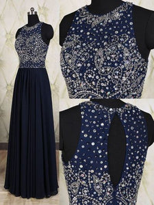 dark navy Prom Dresses,long prom dress,charming prom Dress,beaded prom dress,2017 evening dress,BD2804