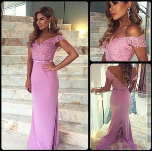 Long Prom Dress,Off shoulder Prom Dress,Lace Prom Dress,2016 Prom Dress,pink Prom Dress,BD080