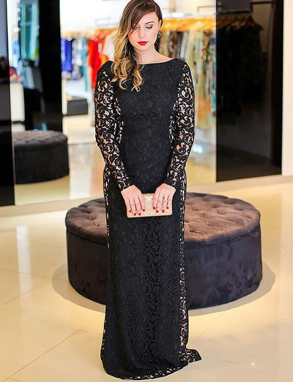 Stunning Plus Size Sheath Bateau Backless Lace Long Sleeves Black Prom Dress, BH91241