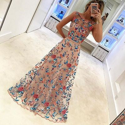 Floral Embroidery Prom Dresses,A-line Prom Dress,Sleeveless Prom Dress,High Quality Prom Dress,Gorgeous Prom Dress,PD0052