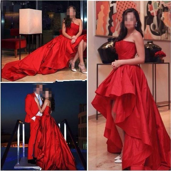 Red Prom Dress,Strapless Prom Dress,High Low Prom Dress,Fashion,PD455848
