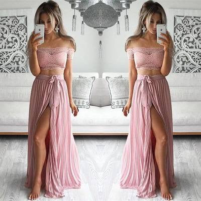 Two Pieces Prom Dresses,Off-shoulder Prom Dress,Leg Slit Prom Dresses,Cheap Prom Dress,Fashion Prom Dresses,PD00127