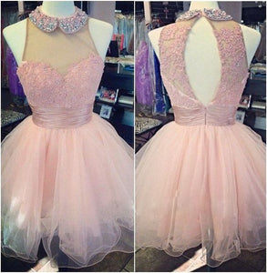 pink Homecoming dress,short prom Dress,cute Prom Dresses,homecoming dress for girls,BD611