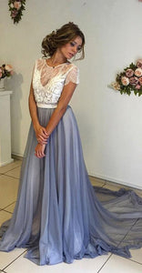 A-line Prom Dress,Chiffon Prom Dress With Lace,Short Sleeves Backless Evening Dresses,PD455833