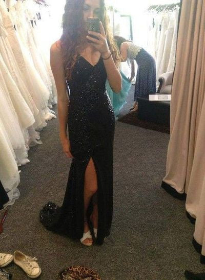 black Prom Dresses,long prom dress,sexy v-neck prom Dress,side slit prom dress,sparkle evening dress,BD2802