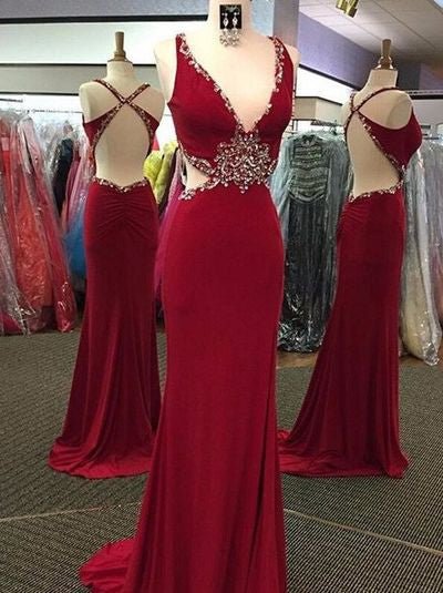dark red Prom Dresses,backless prom dress,long prom Dress,sexy prom dress,charming beaded evening dress,BD2809