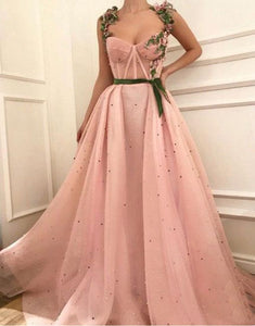 Unique sweetheart neck tulle long prom dress, tulle evening dress BD98003