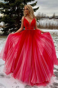 Red v neck tulle long prom dress, red tulle evening dress,BH91169