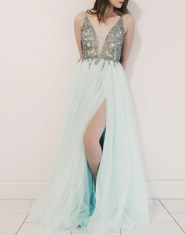 A-line light green tulle long prom dresses, light green evening dresses,PD790005