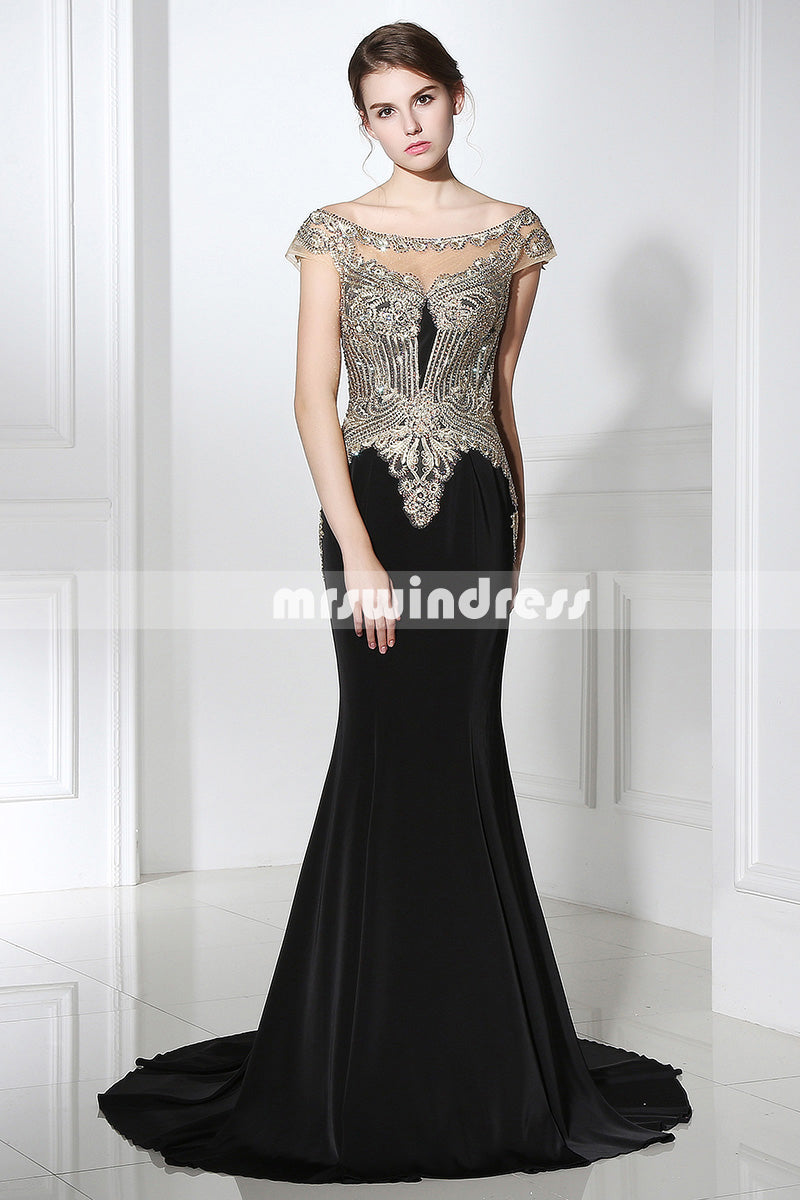 Black Prom Dresses,Vintage Prom Gowns,Long Evening Dress, Evening dresses,LX401