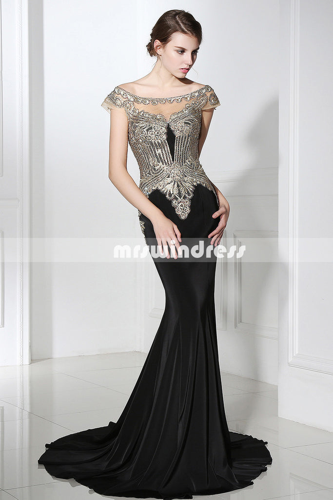 Black Prom Dresses,Vintage Prom Gowns,Long Evening Dress, Evening ...