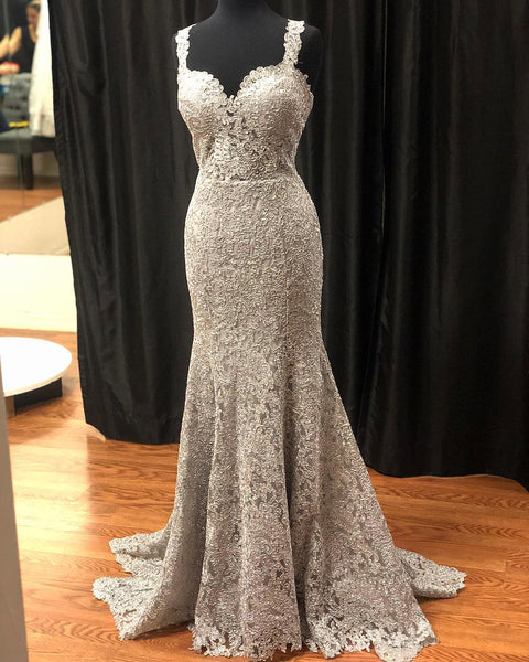 Gray Lace Long Prom Dress, Lace Evening Dress, BH91270