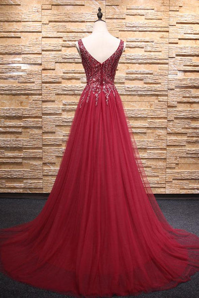 V neck beads tulle long prom dress, evening dress neck beads tulle long prom dress, burgundy evening dresses,PD4558914