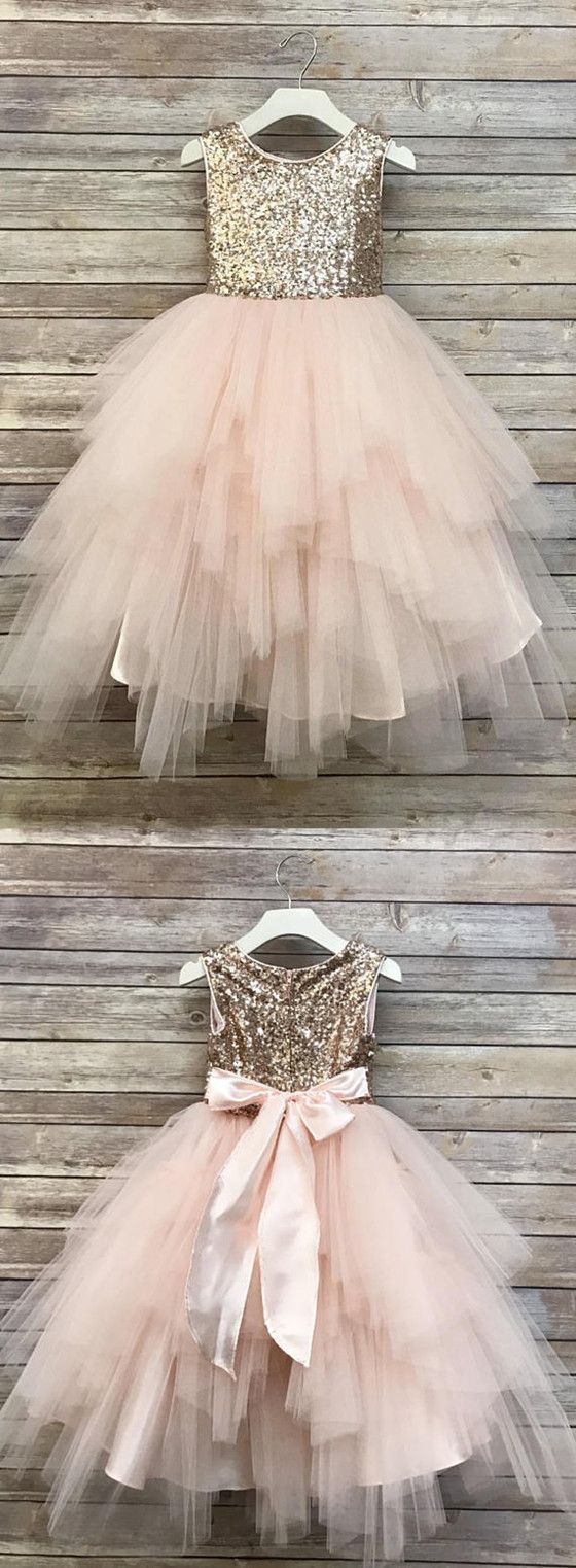 Sparkle Fluffy Flower Girl Dresses, Cheap Little Girl Dresses, Girl's Birthday Party Dresses, FD004