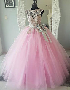 Pink round neck tulle lace beads long prom dress, pink evening dresses,072511