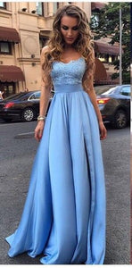 Long Prom Dress,Appliques Prom Dresses,Sexy Evening Dres,Blue Evening Dreesses,BD482920
