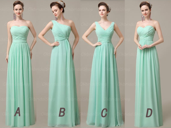 mint bridesmaid dress,long bridesmaid dress,mismatched bridesmaid dress,chiffon bridesmaid dress,BD1963
