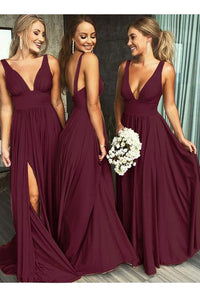 Burgundy Bridesmaid Dresses,Chiffon Bridesmaid Dress,V-neck Bridesmaid Dress,Cheap Bridesmaid Dresses,Bridesmaid Dress with slit,BD4578