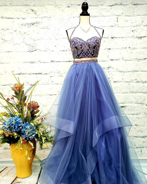 Two Piece Halter Tulle Long Prom/Evening Dress with Beading, BH91288