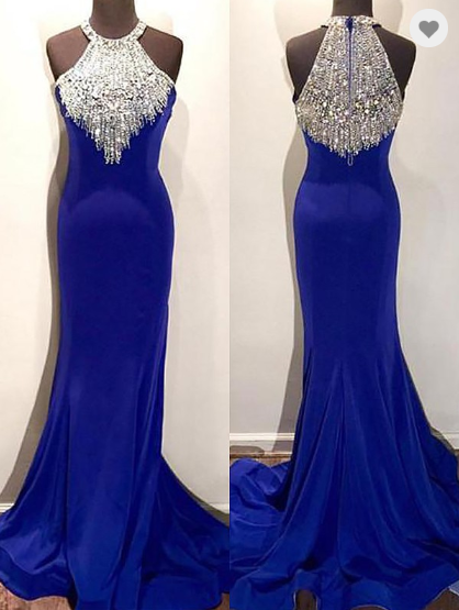 royal blue formal mermaid beaded long evening dress, HO218