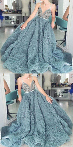spaghetti straps dusty blue plush long prom dress, HO242