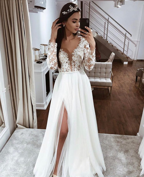 Sexy Plunging V Long Sleeves Wedding Dresses, Chiffon A-line Wedding Dress, BH91287