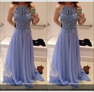 lilac prom dress,long prom dress,chiffon prom dress,beaded prom dress,charming evening gown,BD2620