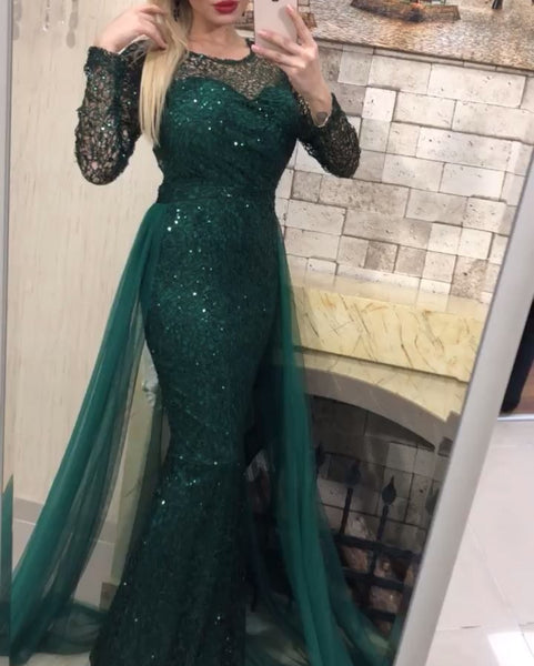 Long Sleeves Mermaid Prom Dresses With Detachable, BH91306